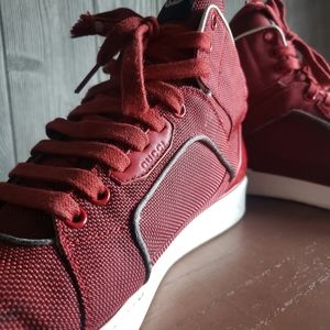 GUCCI RED Canvas Rebound Mid High Top Sneaker
